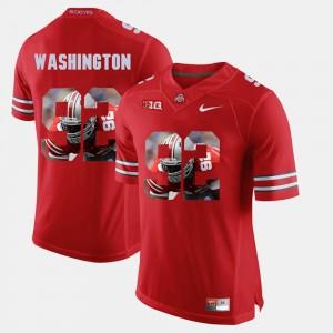 Mens Ohio State #92 Adolphus Washington Scarlet Pictorial Fashion Jersey 501109-277