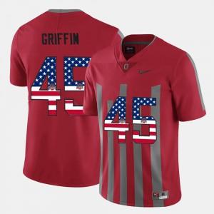 Mens OSU #45 Archie Griffin Scarlet US Flag Fashion Jersey 883980-202