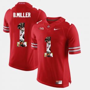 For Men's Ohio State Buckeye #1 Braxton Miller Scarlet Pictorial Fashion Jersey 887712-442