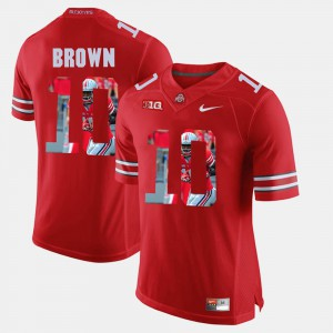 For Men's Ohio State #10 CaCorey Brown Scarlet Pictorial Fashion Jersey 683902-541