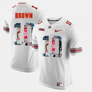 Men's Ohio State Buckeyes #10 CaCorey Brown White Pictorial Fashion Jersey 257129-220