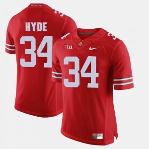 Men's OSU #34 CameCarlos Hyde Scarlet Alumni Football Game Jersey 563928-505
