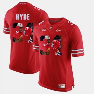 Men OSU Buckeyes #34 CameCarlos Hyde Scarlet Pictorial Fashion Jersey 871473-695