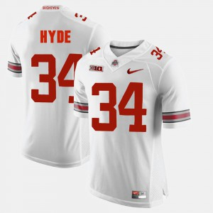 For Men's Ohio State #34 CameCarlos Hyde White Alumni Football Game Jersey 347097-216