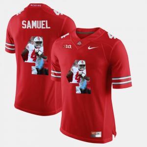 Mens Ohio State Buckeye #4 Curtis Samuel Scarlet Pictorial Fashion Jersey 636158-165