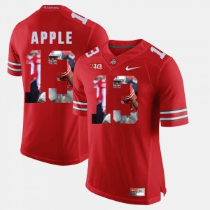 For Men's Ohio State #13 Eli Apple Scarlet Pictorial Fashion Jersey 655091-652