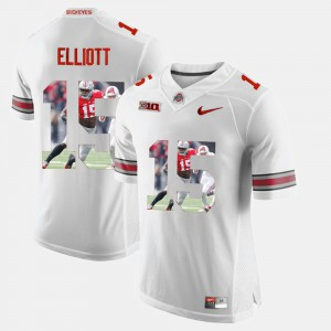 Men's Ohio State #15 Ezekiel Elliott White Pictorial Fashion Jersey 574795-111