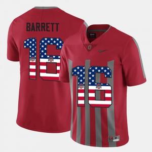 Men Buckeye #16 J.T. Barrett Scarlet US Flag Fashion Jersey 606386-206