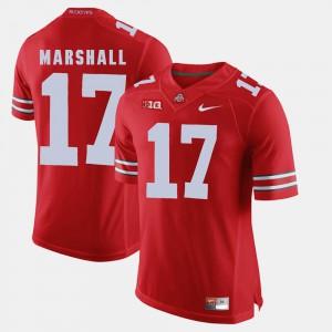 For Men OSU Buckeyes #17 Jalin Marshall Scarlet Alumni Football Game Jersey 746455-243