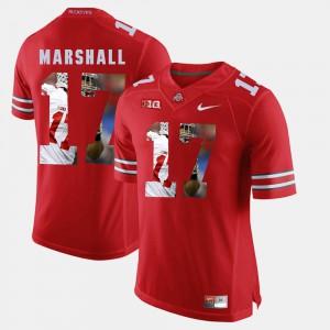 Men's OSU #17 Jalin Marshall Scarlet Pictorial Fashion Jersey 650555-699