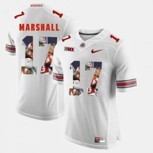 Men's Ohio State Buckeye #17 Jalin Marshall White Pictorial Fashion Jersey 330316-456