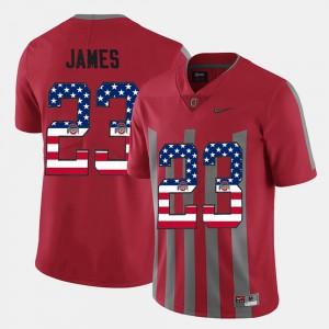 Mens OSU Buckeyes #23 Lebron James Scarlet US Flag Fashion Jersey 531081-887