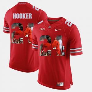 Men's Buckeye #24 Malik Hooker Scarlet Pictorial Fashion Jersey 971177-846