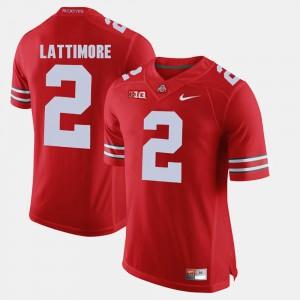 For Men Ohio State Buckeye #2 Marshon Lattimore Scarlet Alumni Football Game Jersey 329463-390