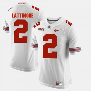 For Men Ohio State Buckeye #2 Marshon Lattimore White Alumni Football Game Jersey 546657-520
