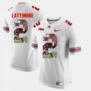 Men's Ohio State #2 Marshon Lattimore White Pictorial Fashion Jersey 838373-765