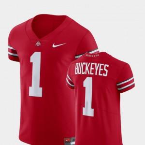 Men's Ohio State Buckeye #1 Scarlet Football Elite V-Neck Jersey 260531-621