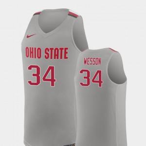 For Men's Buckeye #34 Kaleb Wesson Pure Gray Replica College Basketball Jersey 804142-278