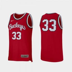 Men's Buckeyes #33 Scarlet College Basketball Retro Performance Jersey 348279-774