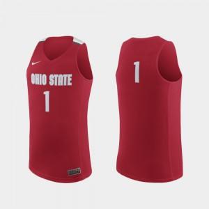 Mens Buckeye #1 Scarlet Replica College Basketball Jersey 781442-604