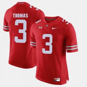 For Men's Buckeyes #3 Michael Thomas Scarlet Alumni Football Game Jersey 493813-488