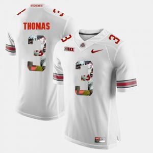 For Men's Ohio State Buckeye #3 Michael Thomas White Pictorial Fashion Jersey 348574-147