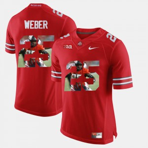 Men's Ohio State #25 Mike Weber Scarlet Pictorial Fashion Jersey 206879-477