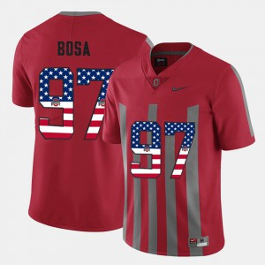 For Men's Ohio State #97 Nick Bosa Scarlet US Flag Fashion Jersey 222442-155