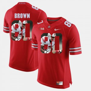 For Men OSU Buckeyes #80 Noah Brown Scarlet Pictorial Fashion Jersey 476308-672