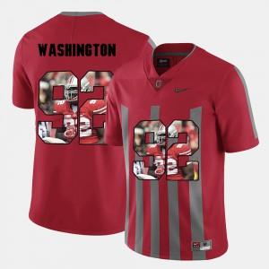 For Men's Buckeyes #92 Adolphus Washington Red Pictorial Fashion Jersey 265679-393