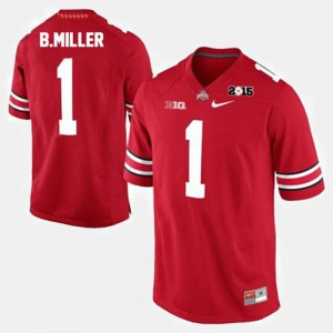 Mens Ohio State #1 Braxton Miller Red College Football Jersey 299919-384