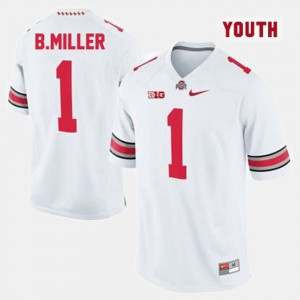 For Kids Ohio State #1 Braxton Miller White College Football Jersey 832815-382