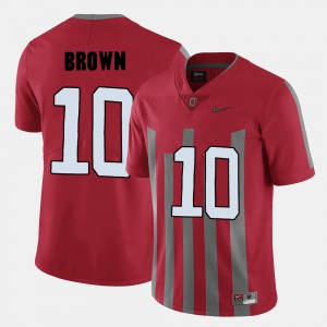 For Men's Buckeye #10 CaCorey Brown Red College Football Jersey 187871-883