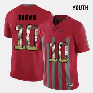 For Kids Ohio State #10 CaCorey Brown Red Pictorial Fashion Jersey 667814-903