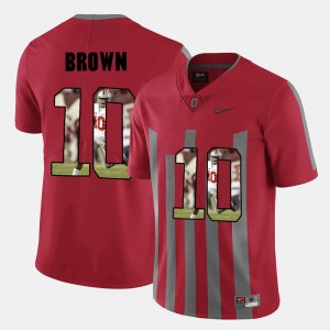 Mens Ohio State #10 CaCorey Brown Red Pictorial Fashion Jersey 451951-800