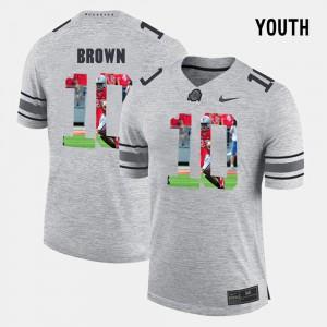 For Kids Ohio State Buckeyes #10 CaCorey Brown Gray Pictorital Gridiron Fashion Pictorial Gridiron Fashion Jersey 360169-728