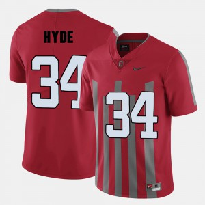 Mens Ohio State Buckeyes #34 CameCarlos Hyde Red College Football Jersey 693678-277