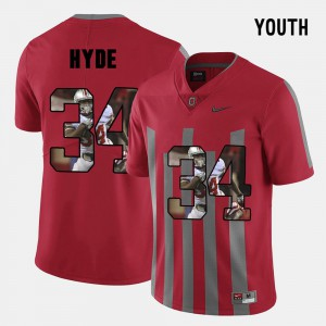 Youth OSU #34 CameCarlos Hyde Red Pictorial Fashion Jersey 583189-139