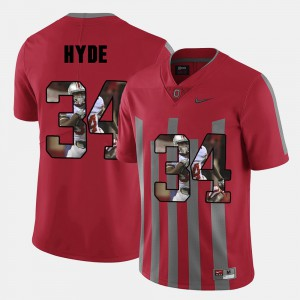 Mens Buckeye #34 CameCarlos Hyde Red Pictorial Fashion Jersey 705951-238