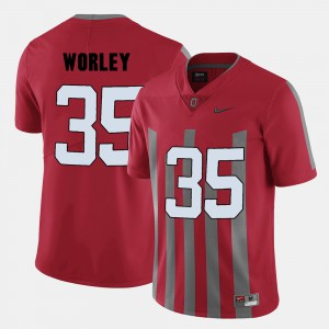 For Men's Ohio State Buckeye #35 Chris Worley Red College Football Jersey 700302-295
