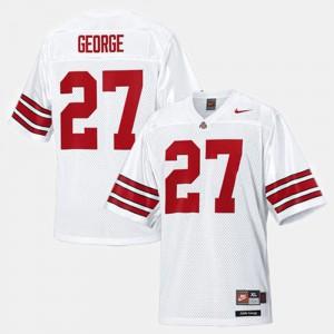 Men's Buckeye #27 Eddie George White College Football Jersey 452823-717