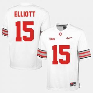 For Men's Ohio State Buckeye #15 Ezekiel Elliott White College Football Jersey 453349-836