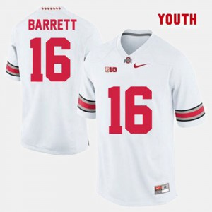 Youth(Kids) Buckeye #16 J.T. Barrett White College Football Jersey 209354-454