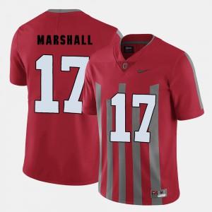 For Men Buckeye #17 Jalin Marshall Red College Football Jersey 152480-688