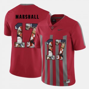 Mens Ohio State #17 Jalin Marshall Red Pictorial Fashion Jersey 870767-662