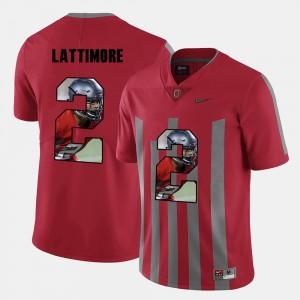 Men OSU Buckeyes #2 Marshon Lattimore Red Pictorial Fashion Jersey 593536-403