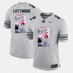 For Men's Ohio State Buckeyes #2 Marshon Lattimore Gray Pictorital Gridiron Fashion Pictorial Gridiron Fashion Jersey 500012-147