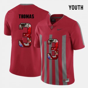 Youth(Kids) Buckeye #3 Michael Thomas Red Pictorial Fashion Jersey 278473-535