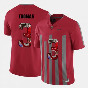 For Men's Buckeyes #3 Michael Thomas Red Pictorial Fashion Jersey 747136-267