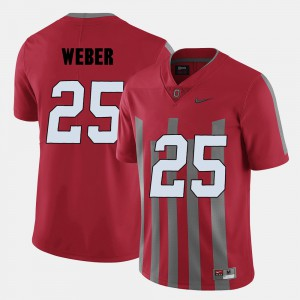 For Men's OSU Buckeyes #25 Mike Weber Red College Football Jersey 120186-239